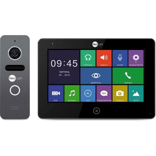 Комплект видеодомофона NeoLight ALPHA Black + вызывная панель SOLO Graphite