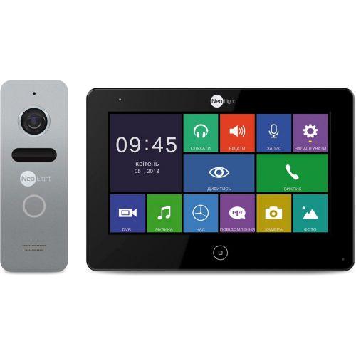 Комплект видеодомофона NeoLight ALPHA Black + вызывная панель SOLO Silver