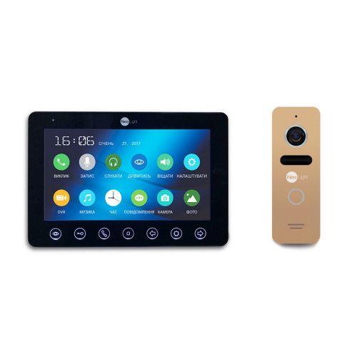 Комплект видеодомофона NeoLight OMEGA+ Black/SOLO Gold