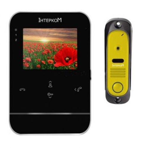 Комплект видеодомофон и вызывная панель Интерком ІМ-11 (ІМ-01 black + ІМ-10 yellow)