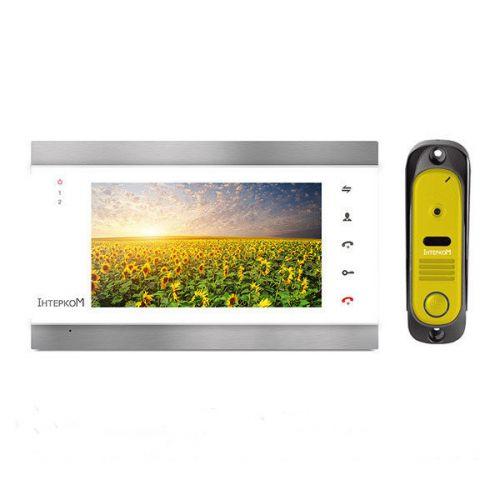 Комплект видеодомофон и вызывная панель Интерком ІМ-12 (ІМ-02 white + ІМ-10 yellow)