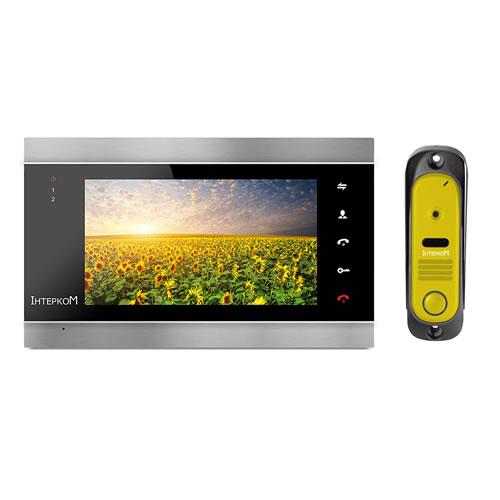 Комплект видеодомофон и вызывная панель Интерком ІМ-12 (ІМ-02 black + ІМ-10 yellow)