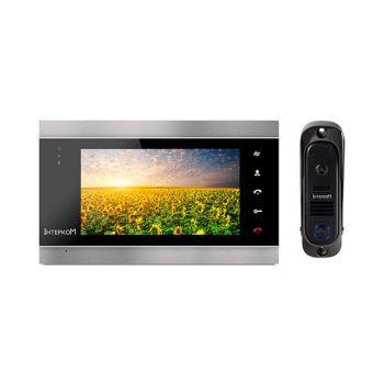 Комплект видеодомофон и вызывная панель Интерком ІМ-12 (ІМ-02 black + ІМ-10 black)