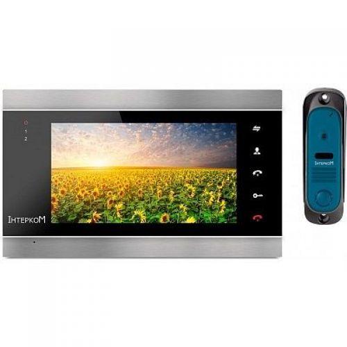Комплект видеодомофон и вызывная панель Интерком ІМ-12 (ІМ-02 black + ІМ-10 blue)