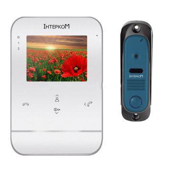Комплект видеодомофон и вызывная панель Интерком ІМ-11 (ІМ-01 white + ІМ-10 blue)