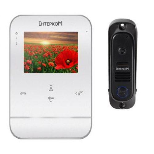 Комплект видеодомофон и вызывная панель Интерком ІМ-11 (ІМ-01 white + ІМ-10L Black)