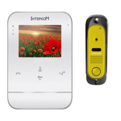 Комплект видеодомофон и вызывная панель Интерком ІМ-11 (ІМ-01 white + ІМ-10 yellow)